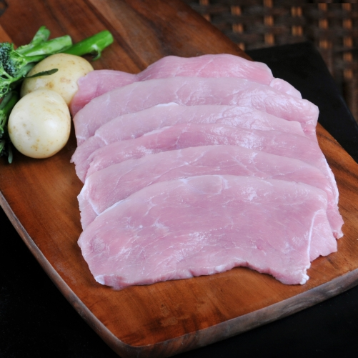 Thinly sliced pork from the leg.