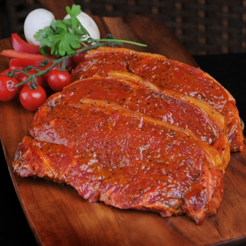 The best frying steak with an olive oil based chili marinade.