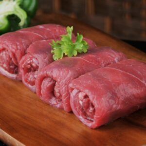 Our own make low fat sausages wrapped in our finnest beef ham.